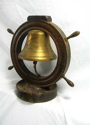 Antique Mid 19th C Wood & Brass Ships Wheel Dinner Bell / Gong Requires Some TLC