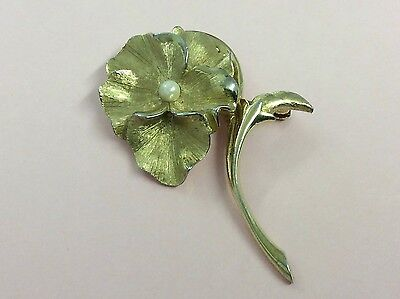 Vintage Flower Costume Brooch Pin By Boucher 1960