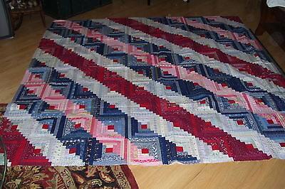GORGEOUS Antique Log Cabin Quilt Top-Beautiful Early Material-1800-1900