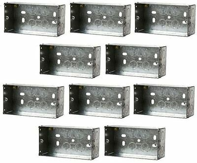 10 x Double Box 35mm Deep Electrical Socket Switch Back Box Metal Flush 2 Gang