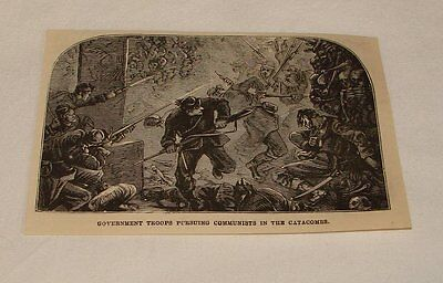 1877 magazine engraving ~ CHASING COMMUNISTS IN CATACOMBS, Paris
