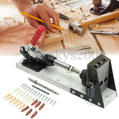 Pocket Hole Drill Jig Joinery System Woodworking Portable w/Drilling Bit Kit Set