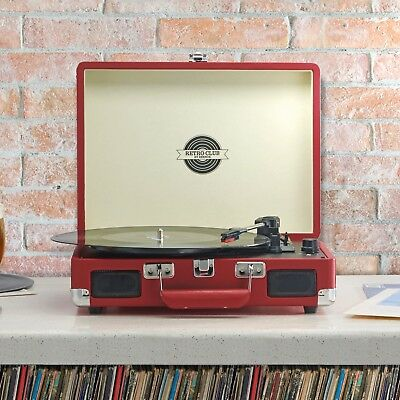 Briefcase Record Player Turntable Portable 3 Speed Vinyl Suitcase USB by Zennox