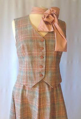Vintage 70s Wool Suit Vest Plaid Skirt Set Top