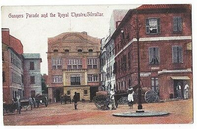 GIBRALTAR Gunners Parade & the Royal Theatre, Old Postcard Unposted