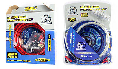 NEW! (2) BULLZ AUDIO 4 Gauge Power Amplifier/Amp Wiring Kits - EPAK4R & EPAK4BL