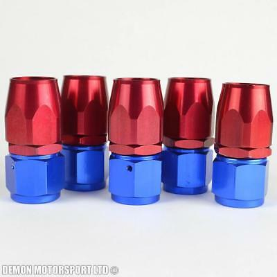 10An -10 (An10) Straight Red / Blue Braided Hose Fitting (5 Pack)