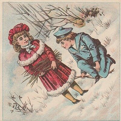 Victorian Trade Card Girl and Sailor Suit Boy in Snow