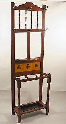 Antique Walnut Victorian Eastlake Hall Tree Coat Rack Stand 1880 Tile
