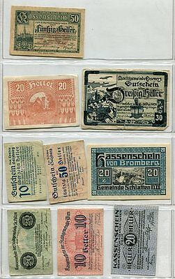 Austria Inflation Notgeld Notes Lot of 9