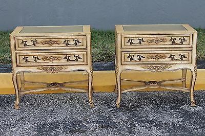 PAIR ITALIAN DETAILED NIGHTSTANDS, GILT & GLASS TOPS, 1950's