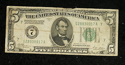 1928 A $5 Federal Reserve Note -Chicago