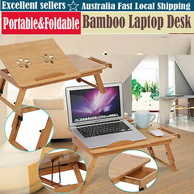 Adjustable Bamboo Rack Dormitory Bed Lap Desk Two Flowers Book Reading Tray HOT