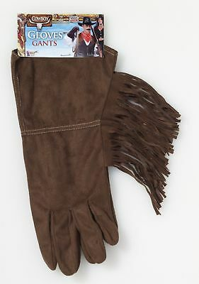 Brown Fringe Gloves Western Cowboy Rodeo Costume Accessory Adult Mens