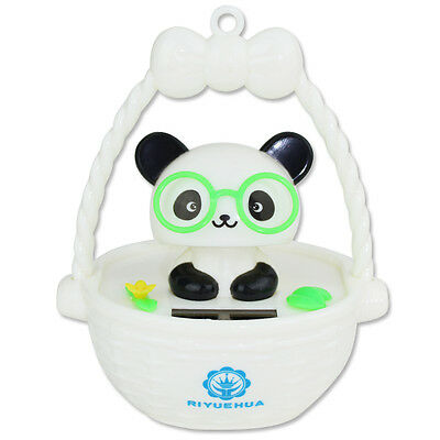 Cute Panda with Glasses in Bascket Solar Powered Toy Office Desk Home Decor