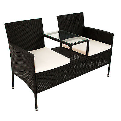 polyrattan gartenm bel gartenbank sitzbank mit tisch sitzgruppe garnitur poly eur 124 95. Black Bedroom Furniture Sets. Home Design Ideas