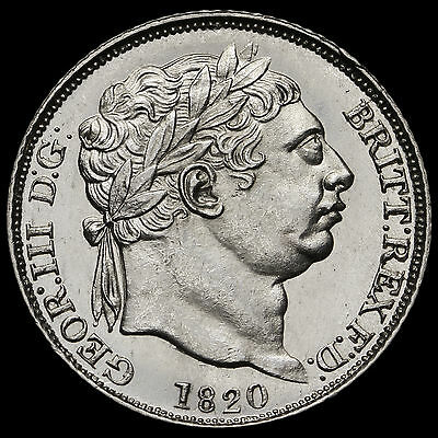 1820 George III Milled Silver Sixpence, Scarce, Uncirculated