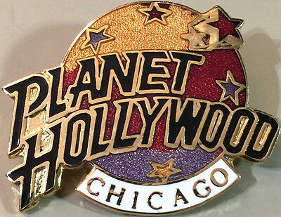 Planet Hollywood CHICAGO 1990s Classic 3 Color Globe LOGO Lapel PIN Restaurant