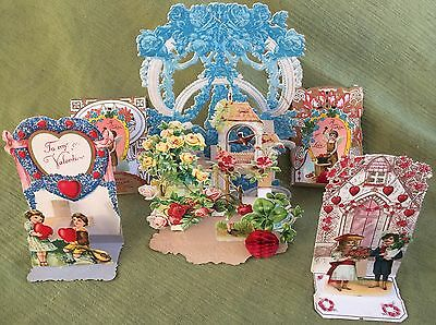 Lot (5) Antique Old Victorian POP UP/Fold Down Valentine CARDS Germany EX 1800s!