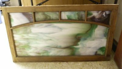 Vtg Rare Brown Green White Grey Blue Color Whole Slag Glass Window Panel