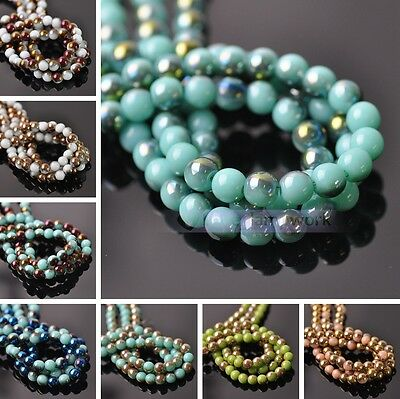 4mm 6mm 8mm Opaque Half Plated Round Loose Spacer Glass Beads Jewelry Findings