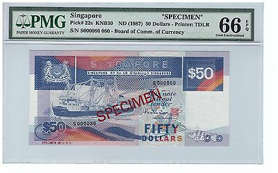 PMG 66 EPQ  Singapore SHIP Series $50 Specimen Note S000080  P22s SUPER RARE