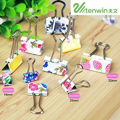 32mm/25mm/19mm Tenwin Colorful Printing Metal Paper Clip File Documents Clips AU
