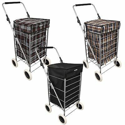 4 Wheel Shopping Trolley Caged Bag Folding Lightweight Case Fold Flat Tartan