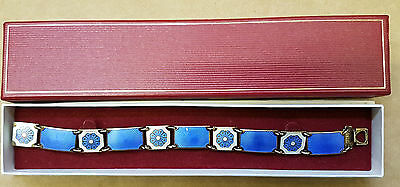 (pa2) David Anderson Norway Silver and Blue Enamel Bracelet - 7.5""