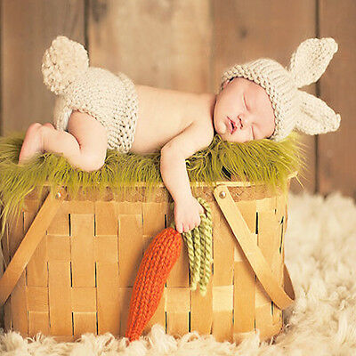 Toddler Newborn Kids Baby Carrot Crochet Knit Costume Photography Photo Props
