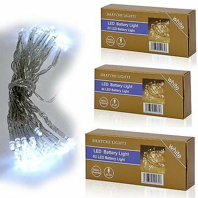 20-80 Clear LED Battery Operated Fairy Lights Christmas Wedding Party Decoration