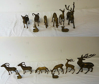 BRASS Animal Menagerie ~ Deer, etc. ~ LOT of 8 Figurines