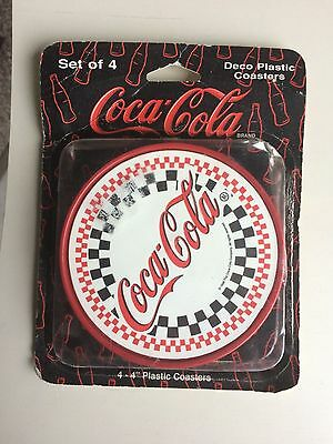 """Coke Coca Cola Deco Set of Four 4"""" Coasters in Package"""