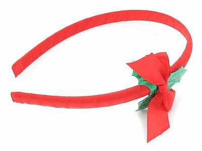 Zest Christmas Alice Band with Spotty /& Fluffy Bow Hair Accessory Red /& White