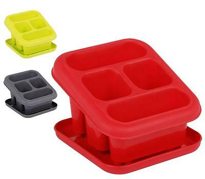 4 Compartment Plastic Sink Tidy Cutlery Drainer Holder Caddy With Drip Tray
