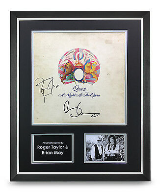 Roger Taylor & Brian May Signed Vinyl Large Framed 20x16 Queen Autograph Display