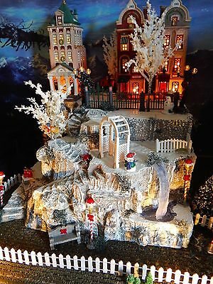 Tall LIGHTED cave Christmas Village Display, Winding Stairs, WATERFALL, Dept 56
