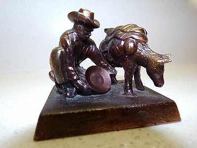 Vintage Gold Panning Miner With  Donkey Mule Statue Figure Japan 135