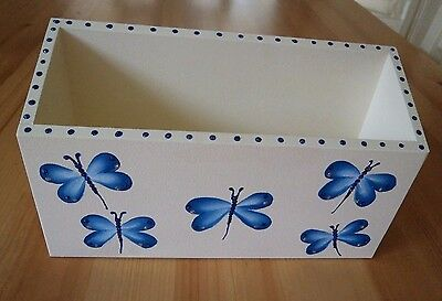 Hand Crafted and Hand Painted Blue Glitter Butterfly Single Letter Rack