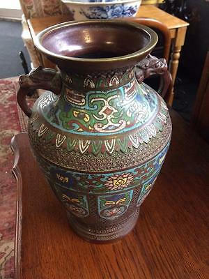 "Vintage Japanese Cloisonne Pot Vase Good Size 12"" Tall Dragon Head Handles"