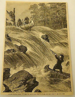 1881 magazine engraving ~ HUNTER IN BOAT SHOOTS AT BOAT FULL OF NATIVE AMERICANS
