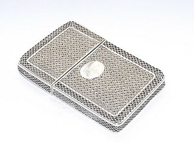 WONDERFUL ANTIQUE VICTORIAN SOLID SILVER FILIGREE CARD CASE c1885
