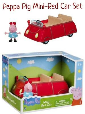 New PEPPA PIG MINI RED CAR Little Convertible + Figure Set Girls Kids RARE GIFT