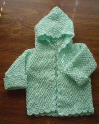 Handmade Hooded Infant Newborn Baby or Doll Sweater Green Pompadour