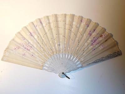 Antique Silk Painted Hand Fan