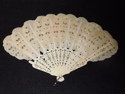 Antique Carved Celluloid Hand Fan