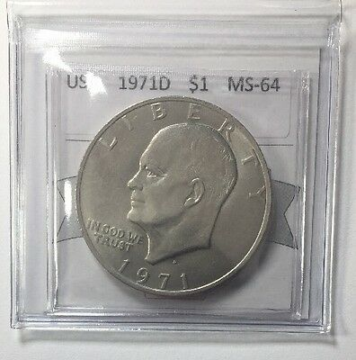 1971D USA One Dollar Coin Mart Graded MS-64