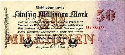 Germany 50 Million Mark Inflation Banknote 1923 Currency Money Wwii Ww2 Look!
