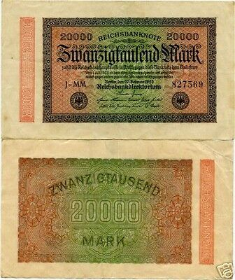 Germany 20,000 Mark Inflation Banknote 1923 Imperial Currency Money Wwii Ww2