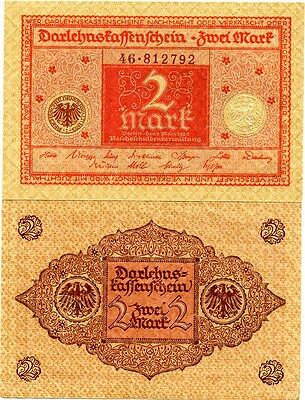 Germany 2 Mark Reichs Banknote 1920 Imperial Empire Wwi Currency Wwii Ww2 Look!